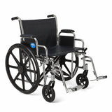 "Medline Excel Extra-Wide Wheelchair, 24"" Wide Seat, Desk-Length Removable Arms, Swing Away Footrests, Chrome Frame - Wheelchairs electric  -Rollators - Medical supply stores"