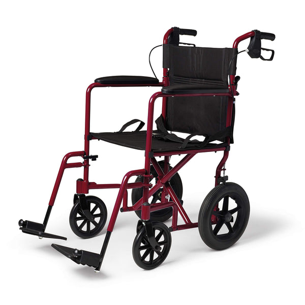 Medline Lightweight Transport Wheelchair with Handbrakes, Folding Transport Chair for Adults has 12 inch Wheels, Red - Wheelchairs electric  -Rollators - Medical supply stores