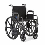 "Medline Strong and Sturdy Wheelchair with Desk-Length Arms and Swing-Away Leg Rests for Easy Transfers, 20"" Seat - Wheelchairs electric  -Rollators - Medical supply stores"
