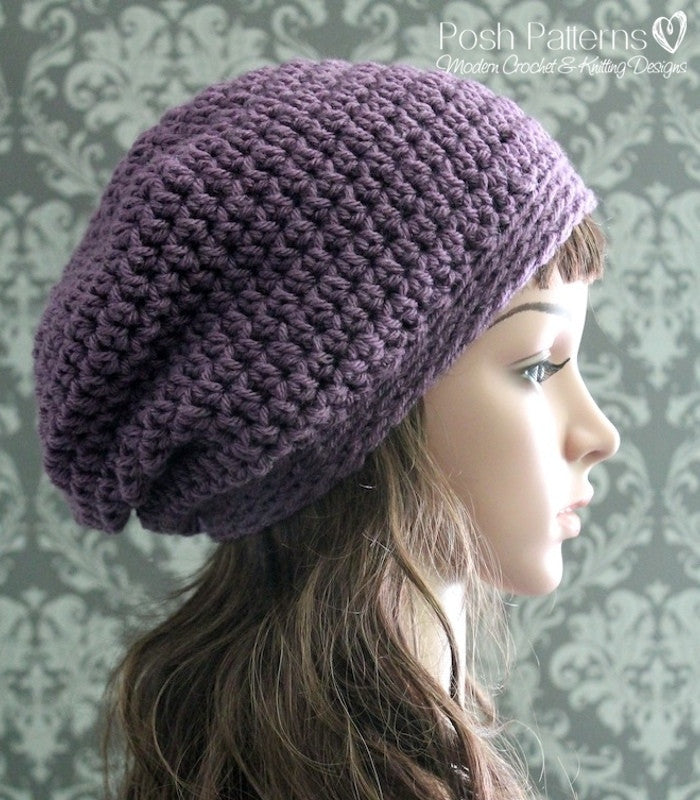 Crochet PATTERN - Easy Crochet Slouchy Hat Pattern – Posh Patterns e8cd9047832