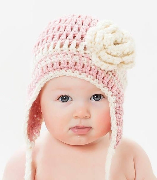 crochet earflap hat pattern with flower