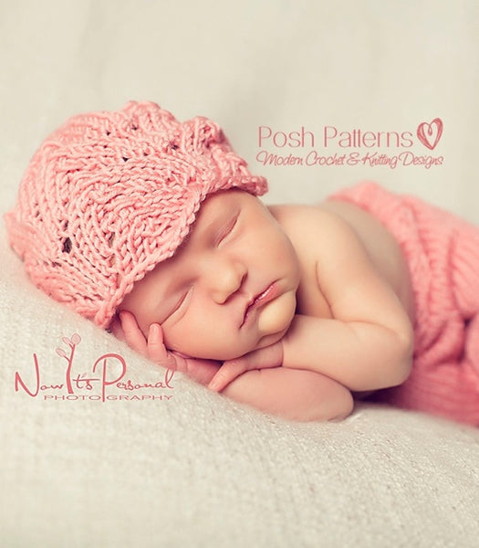 Knitting PATTERN - Lace Hat Knitting Pattern - Includes 5 Sizes Newborn to Large Adult