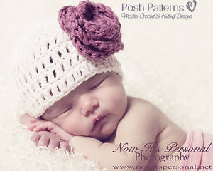 Crochet Pattern - Easy Crochet Beanie Hat - Flowers Bow Leaves