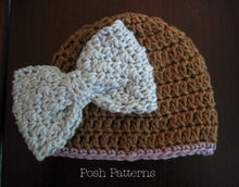 Load image into Gallery viewer, Crochet Pattern - Easy Crochet Beanie Hat - Flowers Bow Leaves
