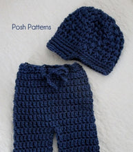 Load image into Gallery viewer, crochet pattern newsboy hat and pants