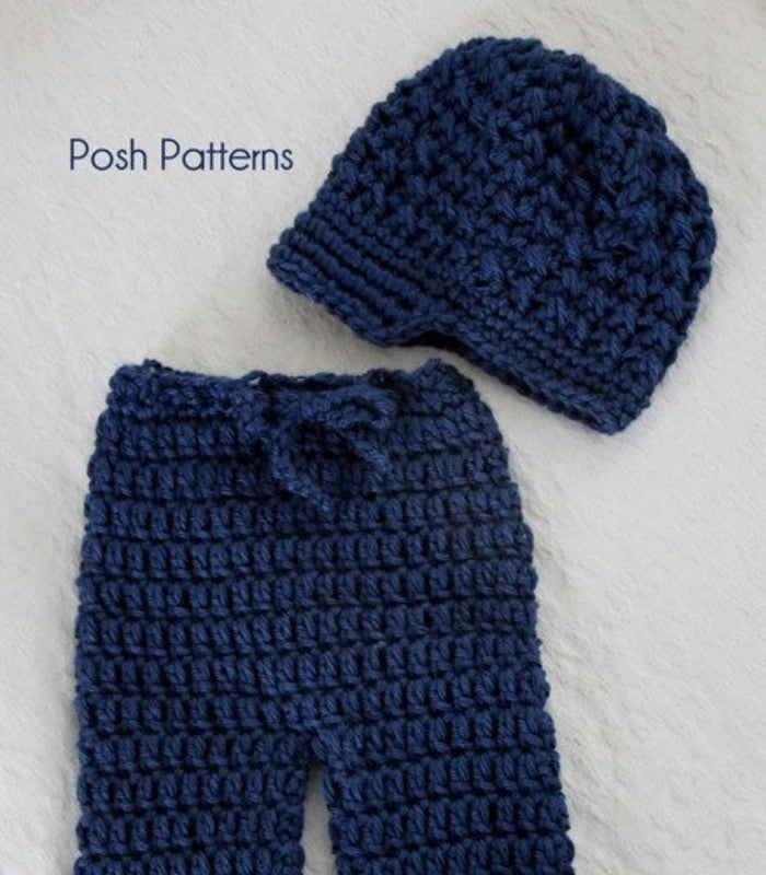 Crochet Pattern Newsboy Hat And Baby Pants Pattern Posh Patterns