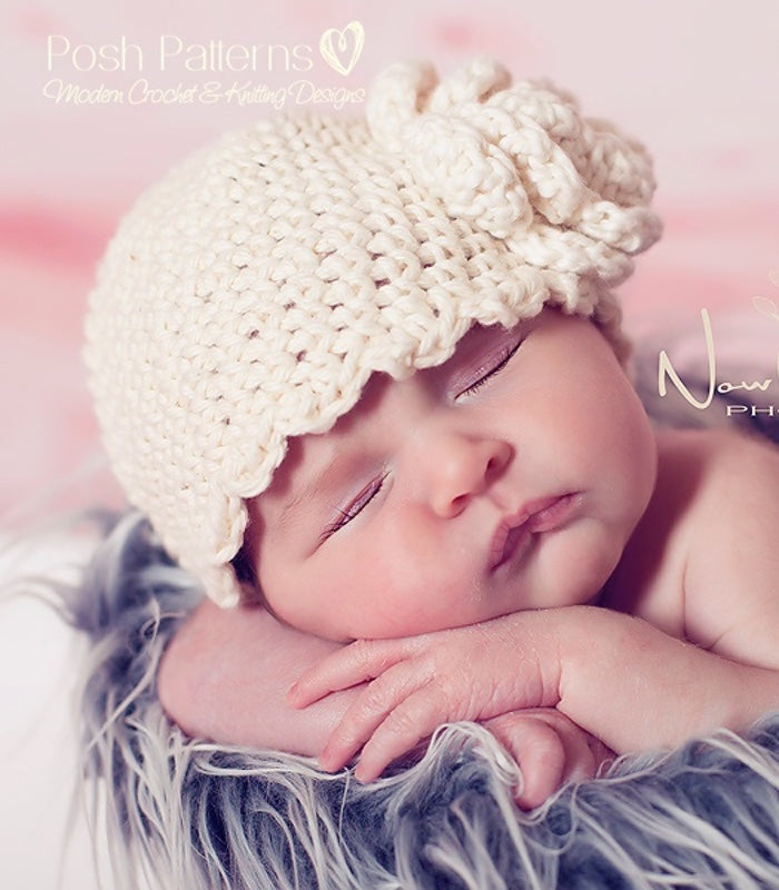 crochet baby hat pattern flower