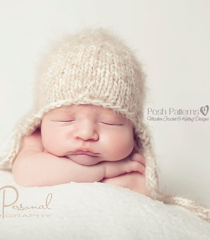 Knitting Pattern Knit Baby Hat Pattern Earflap Hat Posh Patterns