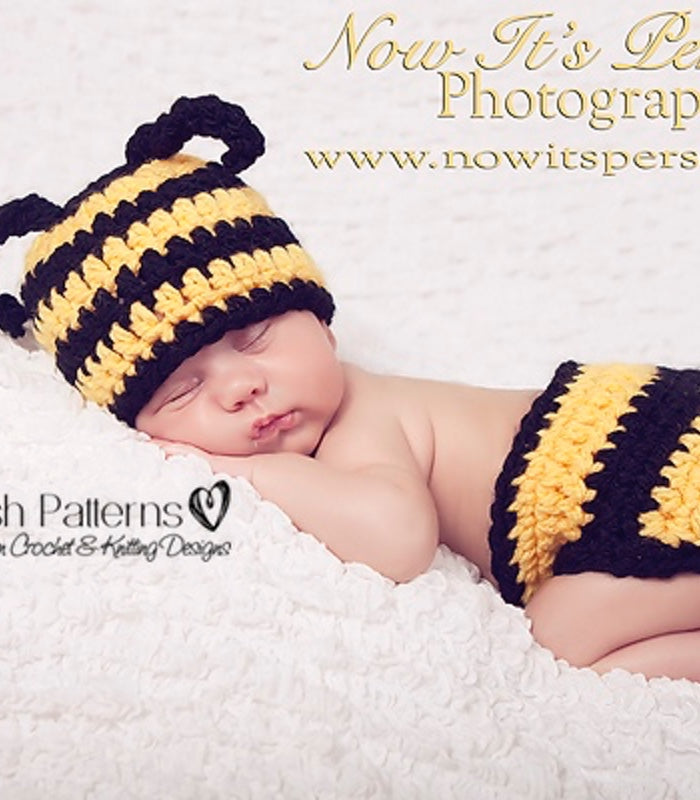 Crochet Pattern Bumble Bee Hat And Diaper Pattern Set