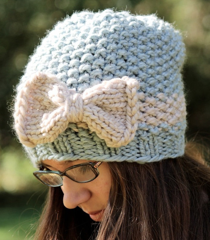 knitting pattern seed stitch hat and bow