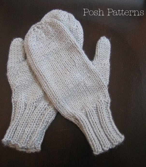 knitting pattern easy mittens
