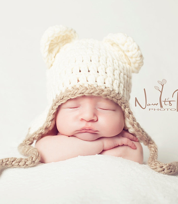 Crochet Pattern Baby Bear Earflap Hat Crochet Pattern