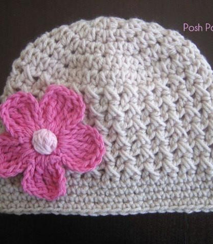 crochet pattern textured hat and flower