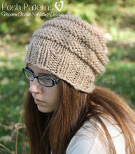 Load image into Gallery viewer, knitting pattern beehive slouchy hat