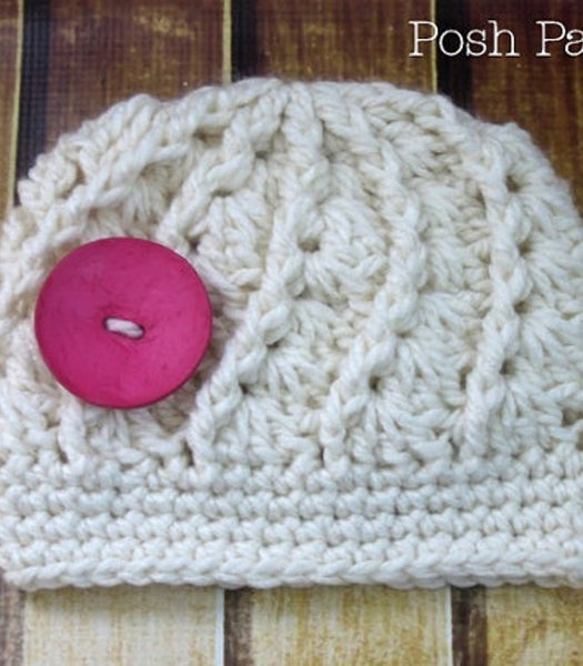 crochet pattern spiral shells hat