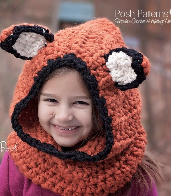 Crochet Pattern Fox Hood Cowl Crochet Pattern