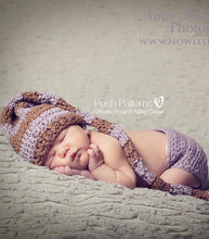 Load image into Gallery viewer, crochet pattern stocking hat and diaper cover