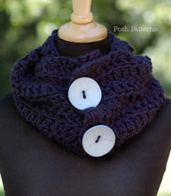 Load image into Gallery viewer, crochet pattern button scarf