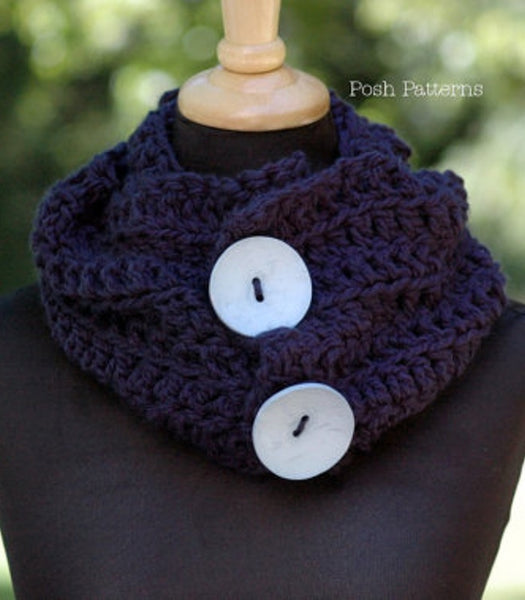 crochet pattern button scarf
