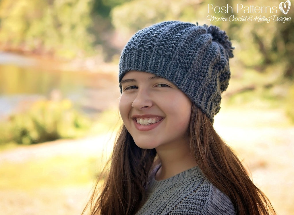 Knitting PATTERN - Easy Knit Ribbed Hat Pattern - Instant Download