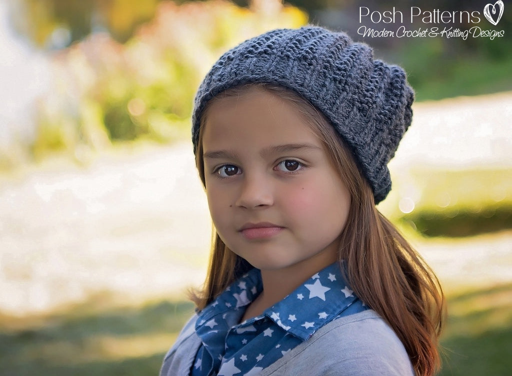 Knitting Pattern Easy Knit Ribbed Hat Pattern Instant Download