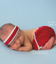 Load image into Gallery viewer, crochet pattern baby running shorts headband