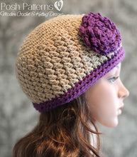 Load image into Gallery viewer, crochet hat and flower pattern