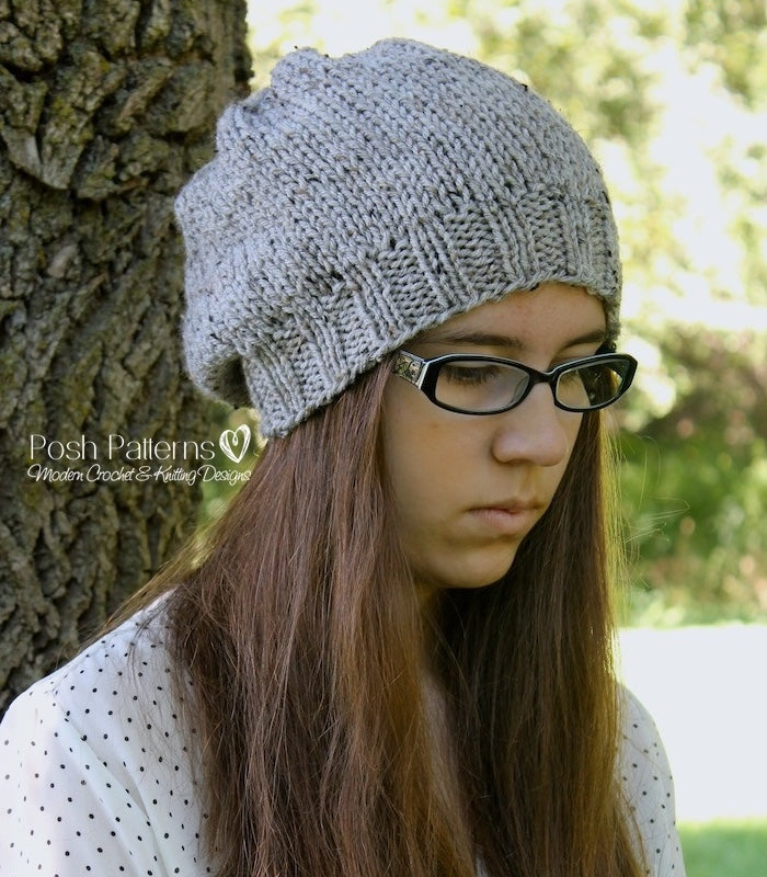 Knitting Pattern Easy Knit Slouchy Hat Pattern