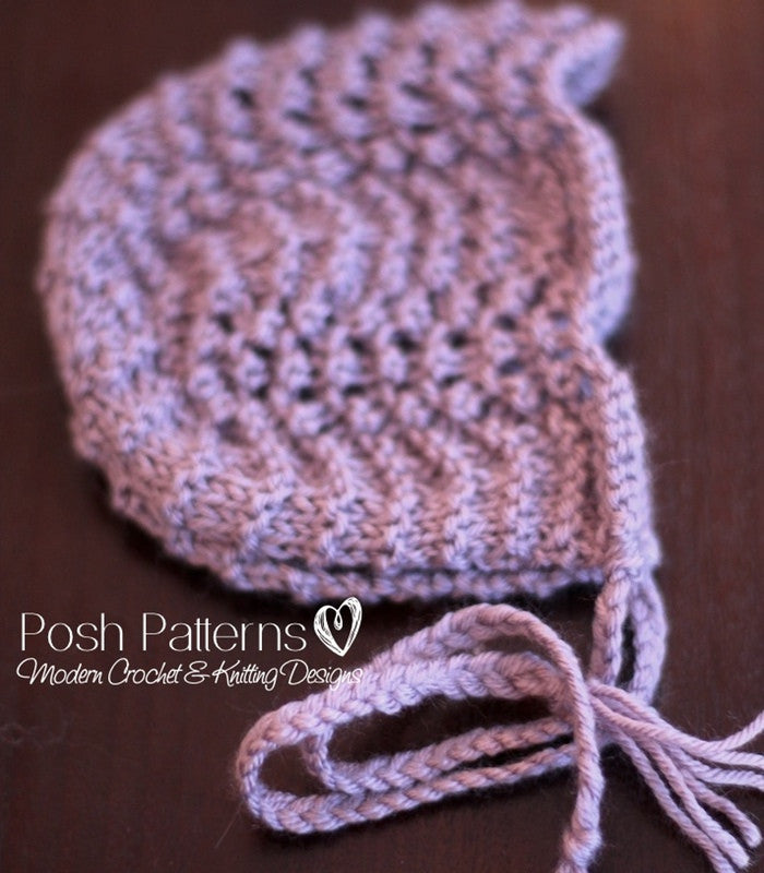 Knitting Pattern Lace Knit Baby Bonnet Pattern