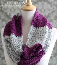 Load image into Gallery viewer, striped cowl crochet pattern