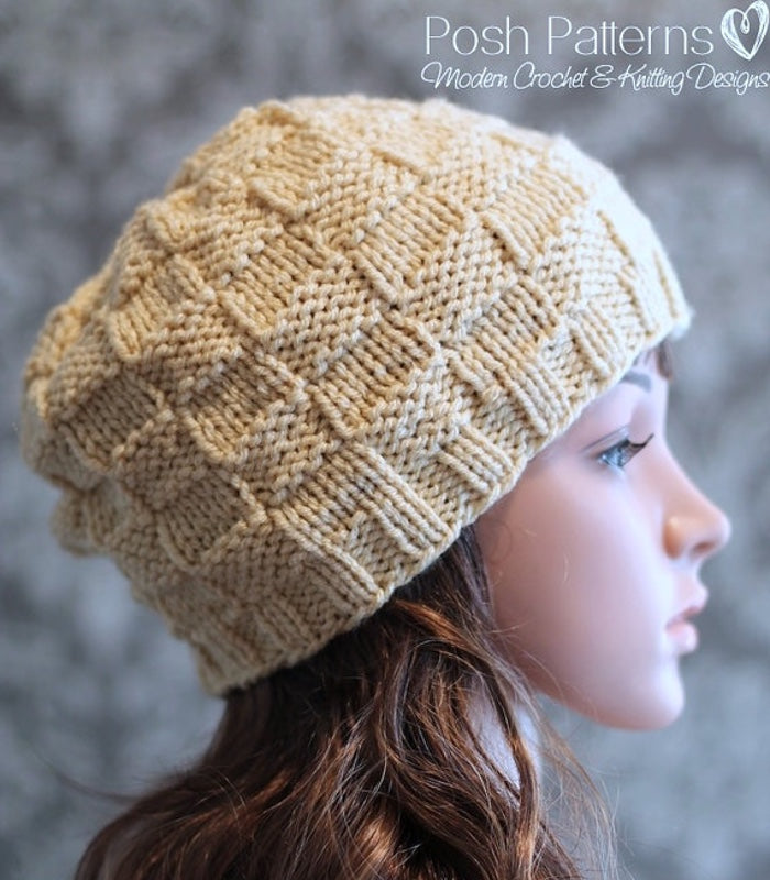 Knitting PATTERNS - Checkered Knit Hat Pattern - Beanie