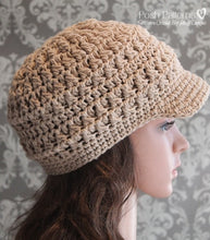 Load image into Gallery viewer, crochet newsboy hat pattern