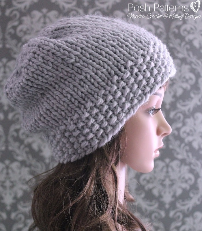 Knitting PATTERN - Chunky Knit Slouchy Hat Pattern