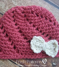 Load image into Gallery viewer, eyelet lace crochet hat pattern