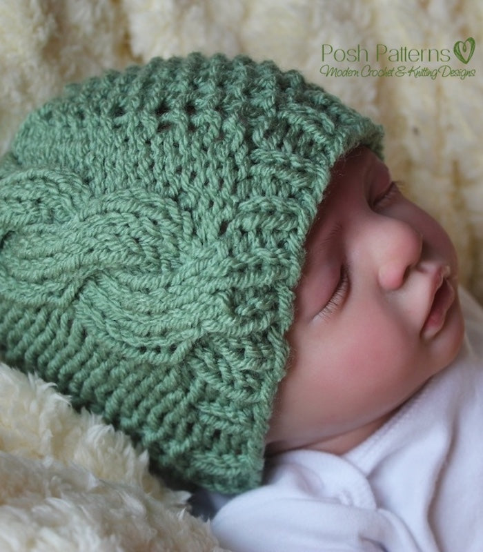 Knitting PATTERN - Knit Cable and Seed Hat Pattern