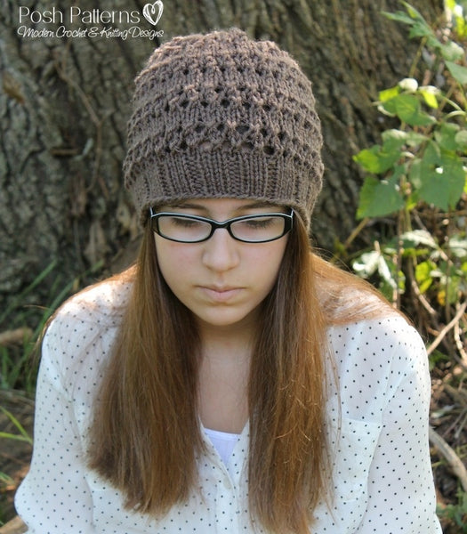 eyelet lace hat knitting pattern
