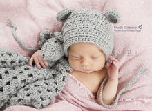 Load image into Gallery viewer, Crochet PATTERN - Crochet Mouse Baby Bonnet Pattern