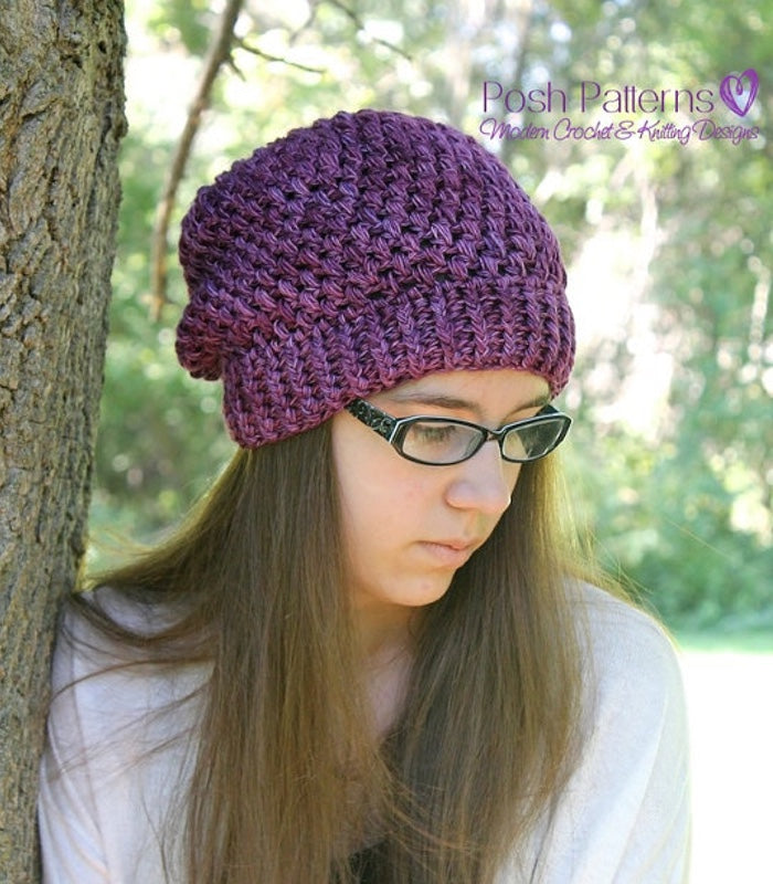 Crochet PATTERNS - Puff Stitch Slouchy Hat Pattern – Posh Patterns ddf7e9ad4bf