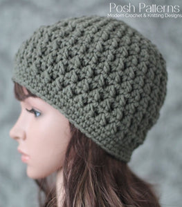 Crochet PATTERN - Textured Crochet Hat Pattern - Beanie – Posh Patterns 021aebe2e8c