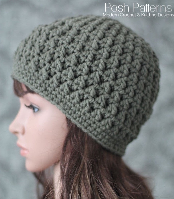 Crochet PATTERN - Textured Crochet Hat Pattern - Beanie – Posh Patterns b1cbd21cb09