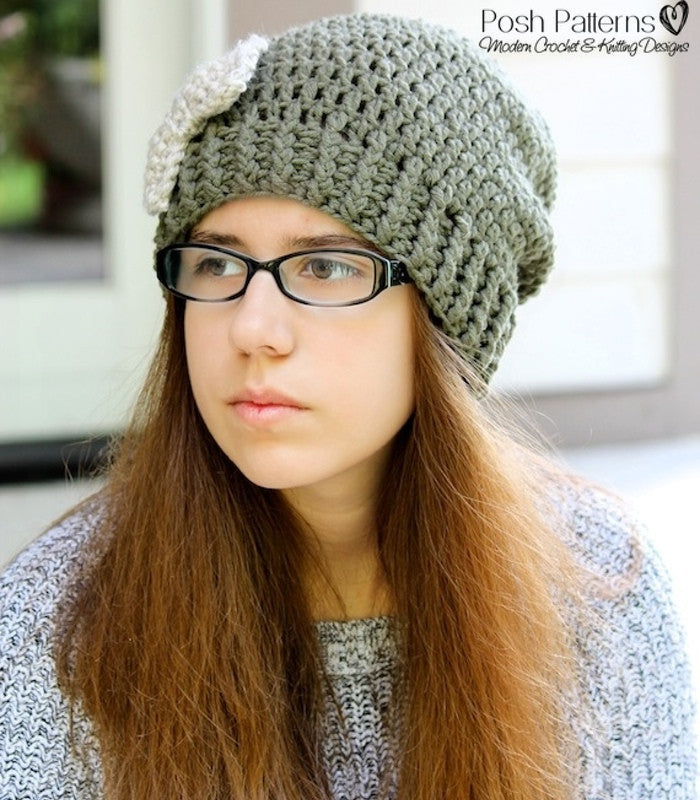 crochet slouchy hat and bow pattern