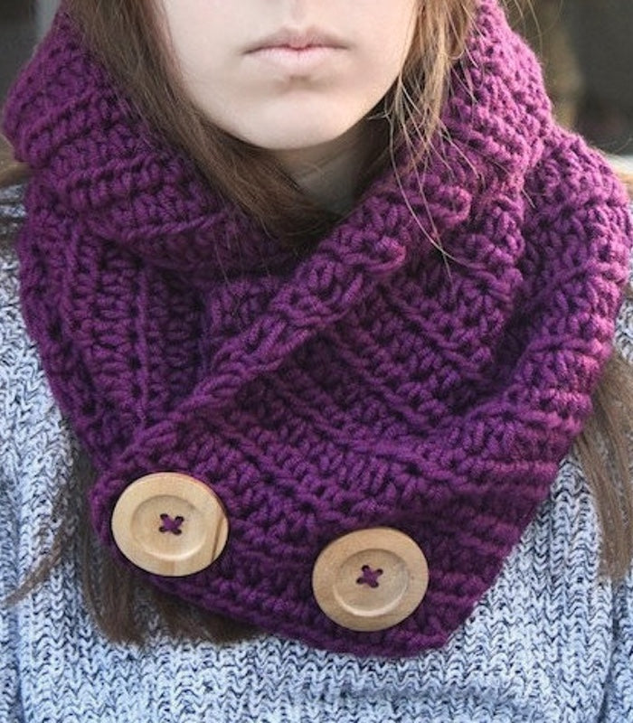 Crochet Pattern Crochet Collar Button Scarf Pattern