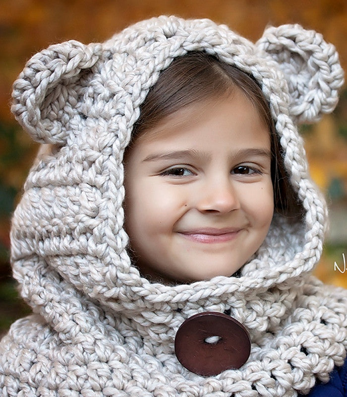 Crochet PATTERN Crochet Bear Hood Cowl Pattern Posh Patterns Cool Hooded Cowl Pattern