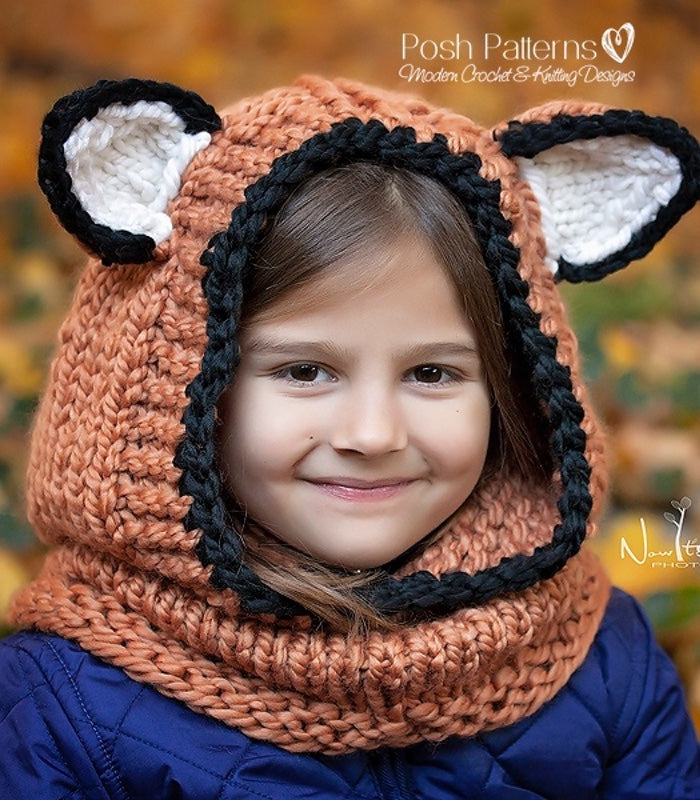 Knitting Pattern Knit Fox Hooded Cowl Pattern Scarf