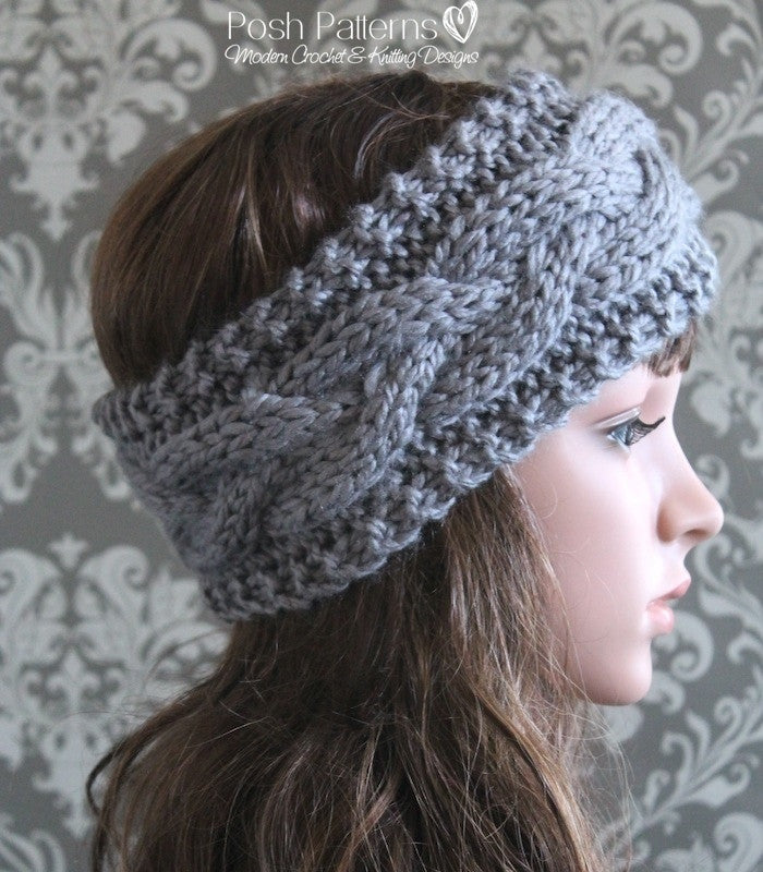 Knitting PATTERN - Cable Knit Headband Pattern - Posh Patterns