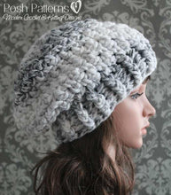 Load image into Gallery viewer, easy crochet slouchy hat pattern
