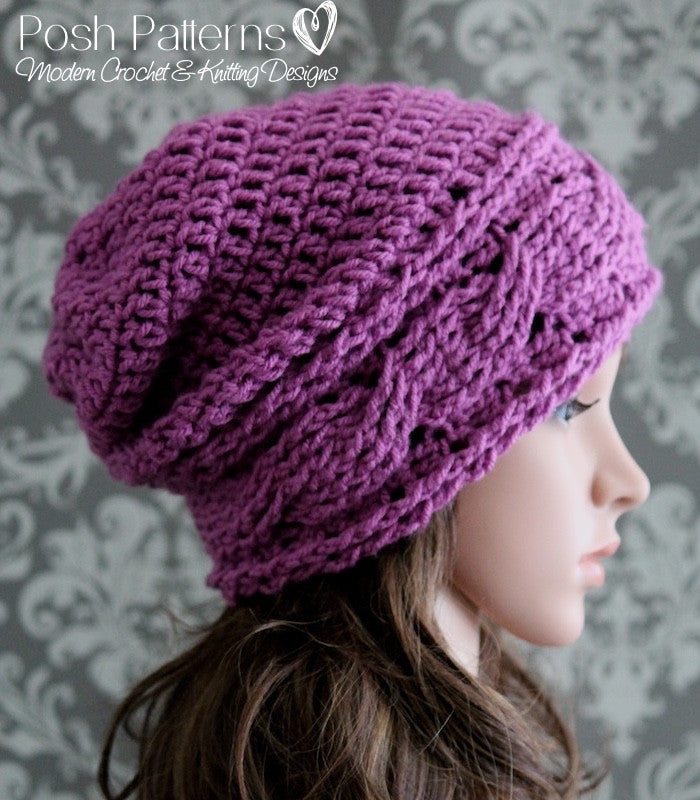Crochet Pattern Crochet Cable Slouchy Hat Pattern Posh Patterns