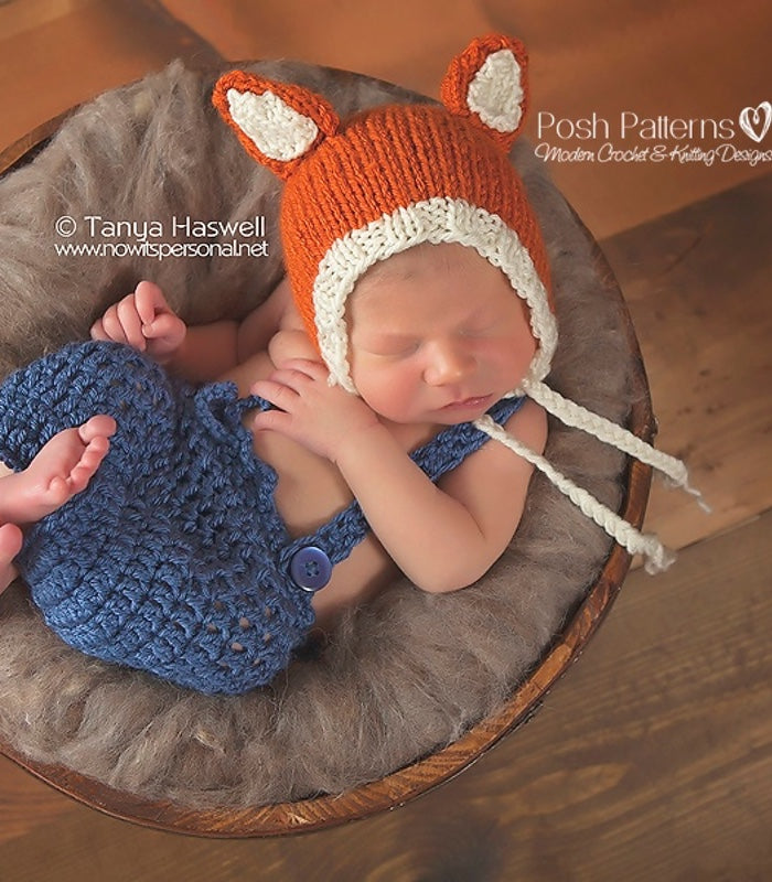 4b423fe0b34be Knitting PATTERN - Knit Baby Fox Hat Pattern – Posh Patterns