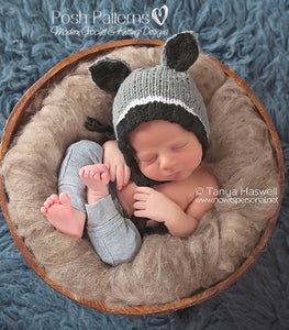 knit raccoon hat pattern