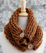Load image into Gallery viewer, crochet pattern button cowl